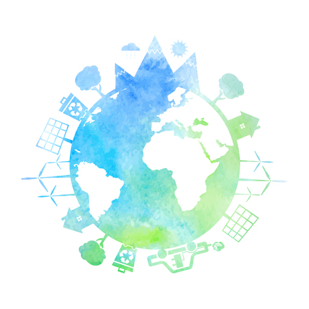 Watercolor illustrations of concept earth with icons of ecology, environment, green energy. Vector Illustration