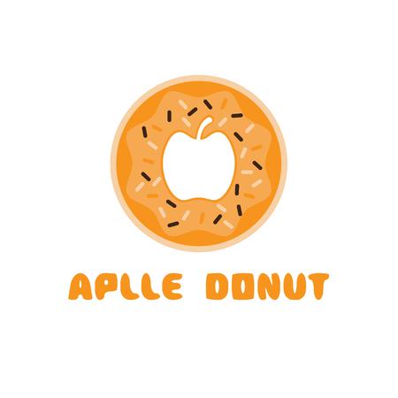 negative: apple donut negative space concept vector illustration