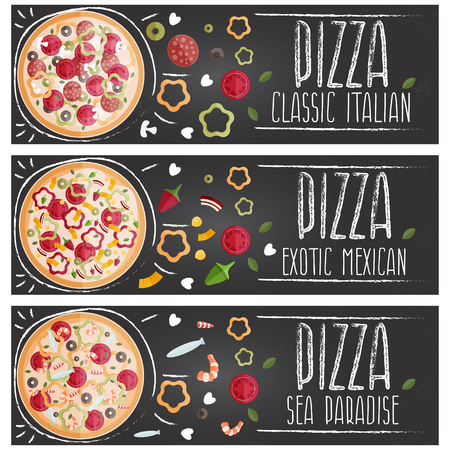 crab meat: Set of banners for theme pizza with different tastes flat design. Vector illustration