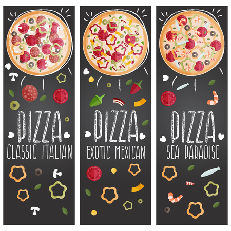 anchovy: Set of banners for theme pizza with different tastes flat design. Vector illustration