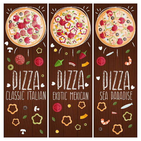 tastes: Set of banners for theme pizza with different tastes flat design. Vector illustration