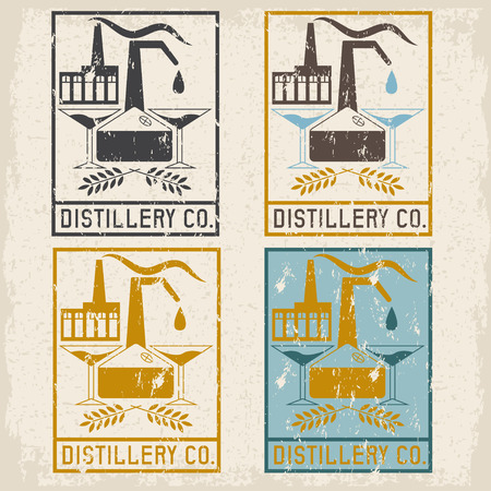 scotch whisky: distillery company with copper whiskey still and martini glasses grunge labels set