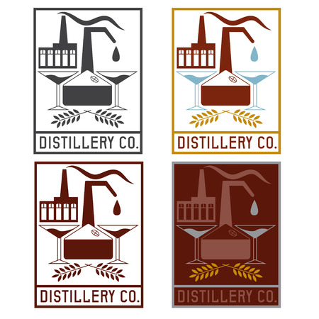 distillery: distillery company with copper whiskey still and martini glasses labels set