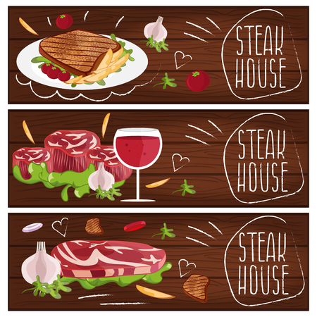 garlic bread: Set of banners for theme steak house with steak,fries,wine. Vector illustration