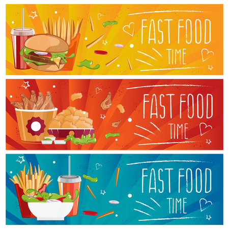 nuggets: Set of banners for theme fast food with hamburgers,fries,cola and chicken nuggets. Vector illustration