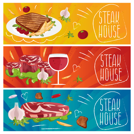 gravy: Set of banners for theme steak house with steak,fries,wine. Vector illustration
