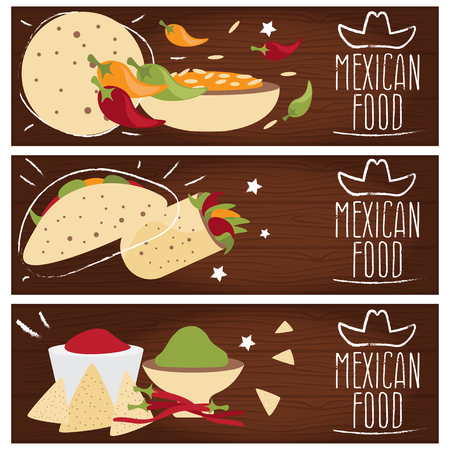 mexican food plate: Set of banners for theme mexican cuisine with different tastes flat design. Vector illustration