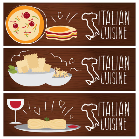 tastes: Set of banners for theme italian cuisine with different tastes flat design. Vector illustration