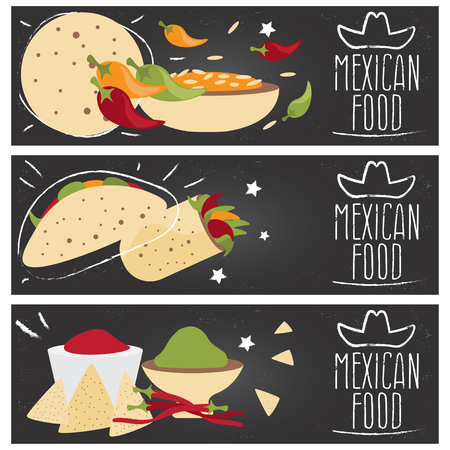 tastes: Set of banners for theme mexican cuisine with different tastes flat design. Vector illustration