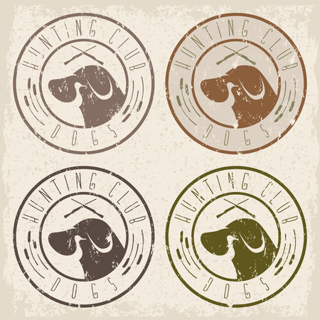 duck hunting: duck hunting retriever negative space grunge labels set Illustration