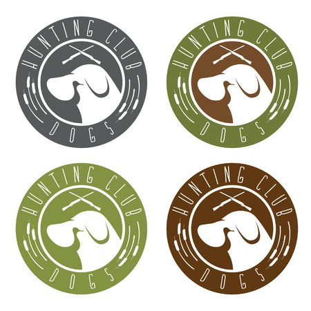 duck hunting: duck hunting retriever negative space labels set