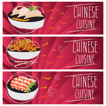 tastes: Set of banners for theme chinese cuisine with different tastes flat design. Vector illustration
