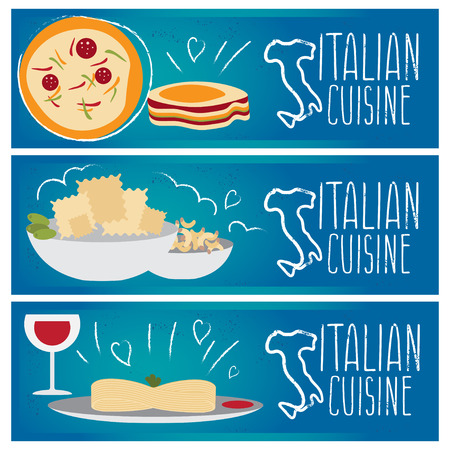 lasagna: Set of banners for theme italian cuisine with different tastes flat design. Vector illustration