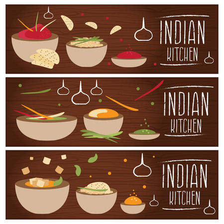 tastes: Set of banners for theme indian cuisine with different tastes flat design. Vector illustration