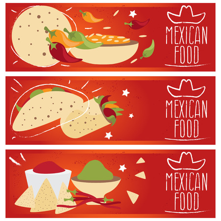 pita bread: Set of banners for theme mexican cuisine with different tastes flat design. Vector illustration