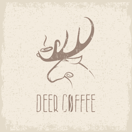 negative space: deer coffee negative space concept grunge vector design template
