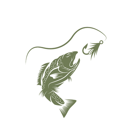 largemouth bass: trout and lure fishing vector design template