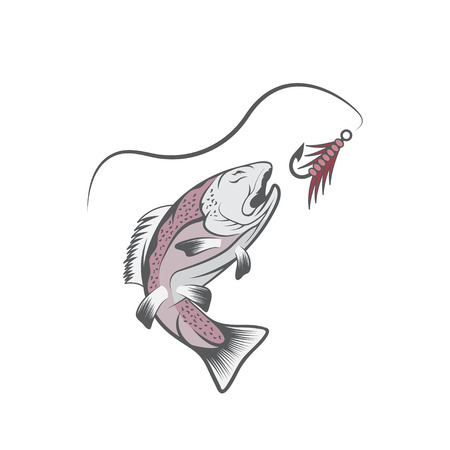trout: trout and lure fishing vector design template