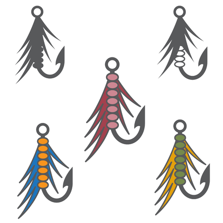 lacing: set of fishing hooks and lures vector design template