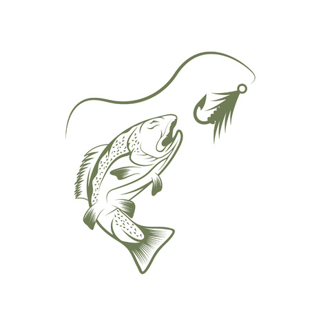 jumping carp: trout and lure fishing vector design template