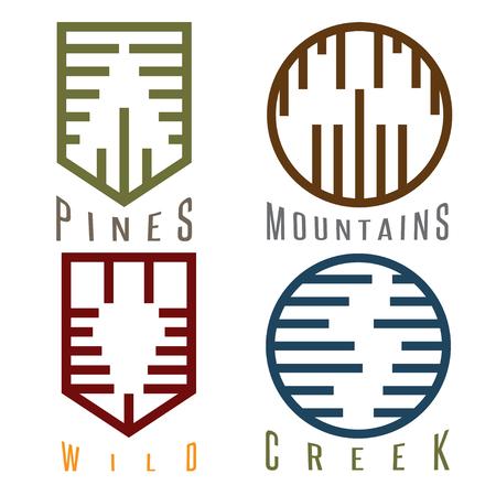 brook: outdoor adventure rhythm style vector sticker set