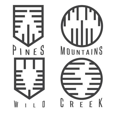 creek: outdoor adventure rhythm style vector sticker set