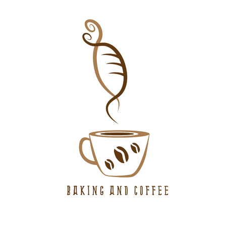 negative space: coffee and bakery negative space concept vector illustration