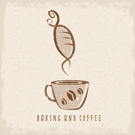 negative space: coffee and bakery negative space concept grunge vector illustration