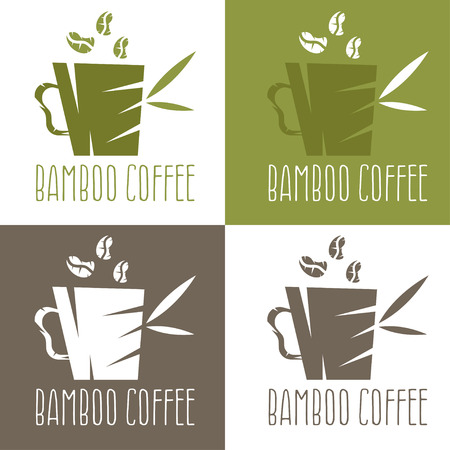 green bamboo: green bamboo cup with coffee and leaves vector design template