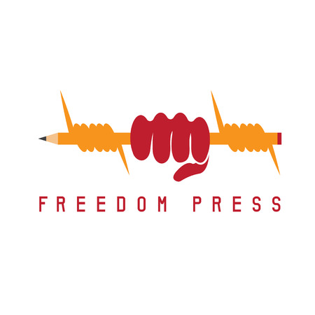 symbolism: freedom press concept with pencil vector design template