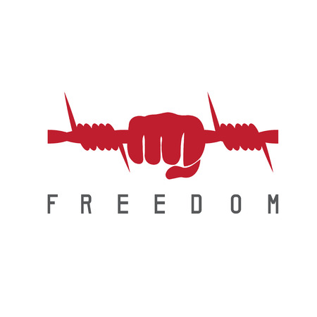 stockade: freedom concept with barbed wire and hand vector design template