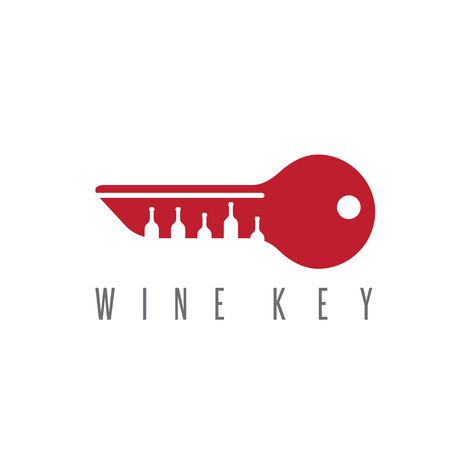 tipple: wine key concept with bottles vector design template