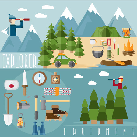 hike: flat design banners of explorer with spyglasses and elements of hike and adventure Illustration