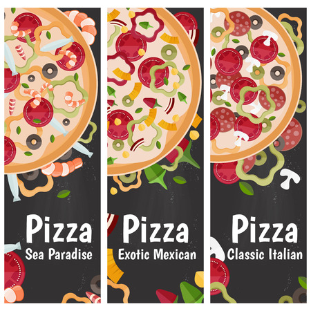 tastes: Set of banners for theme pizza with different tastes flat design on chalkboard. Vector illustration