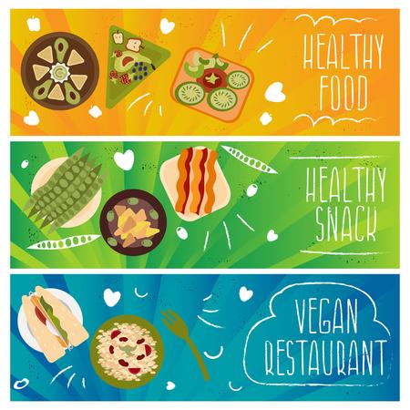 vegetarians: Set of banners for theme healthy food,vegetarians food .Vector illustration