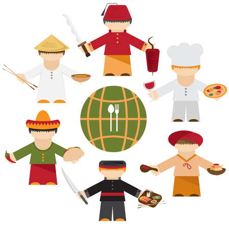 thali: cuisine nations of the world , flat design with different chefs