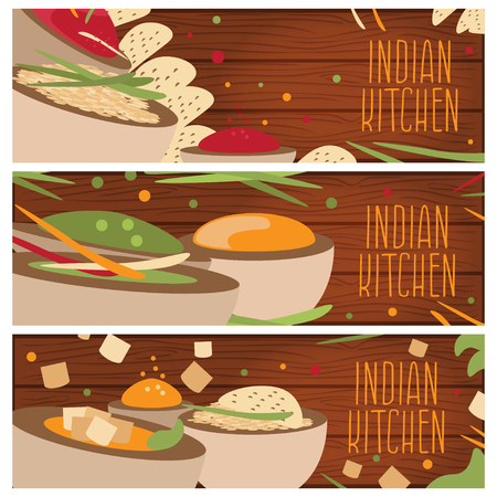 gravy: Set of banners for theme indian cuisine with different tastes flat design on wood desk. Vector illustration