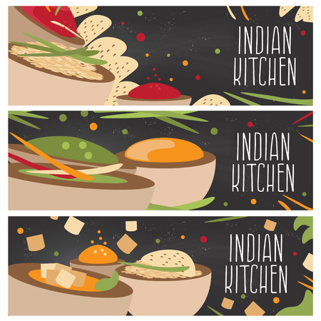 chutney: Set of banners for theme indian cuisine with different tastes flat design on chalkboard. Vector illustration Illustration