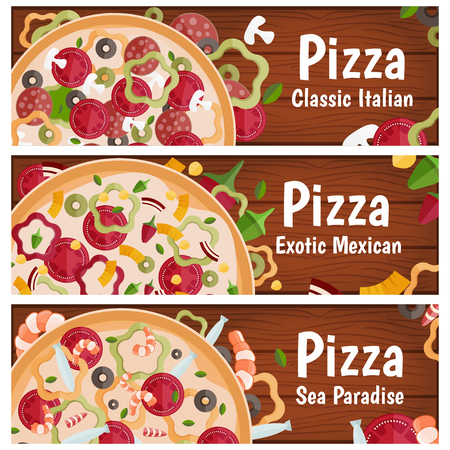 tastes: Set of banners for theme pizza with different tastes flat design on wood. Vector illustration