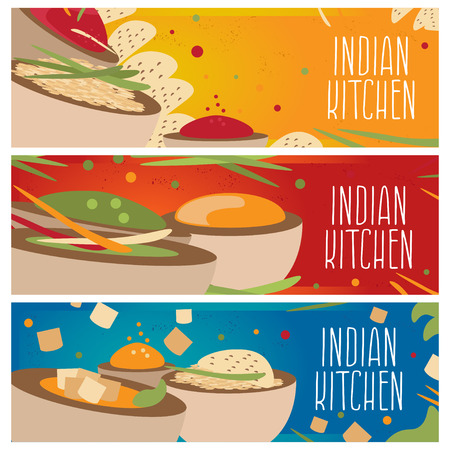curry rice: Set of banners for theme indian cuisine with different tastes flat design. Vector illustration