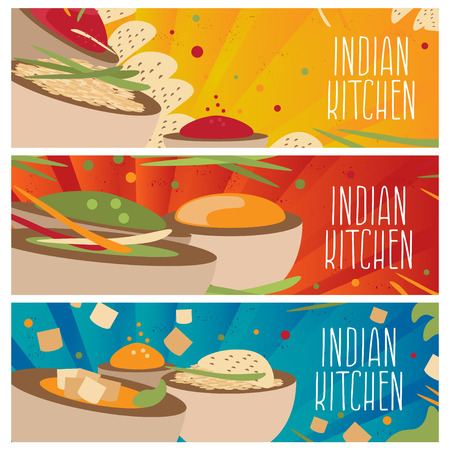 chutney: Set of banners for theme indian cuisine with different tastes flat design. Vector illustration