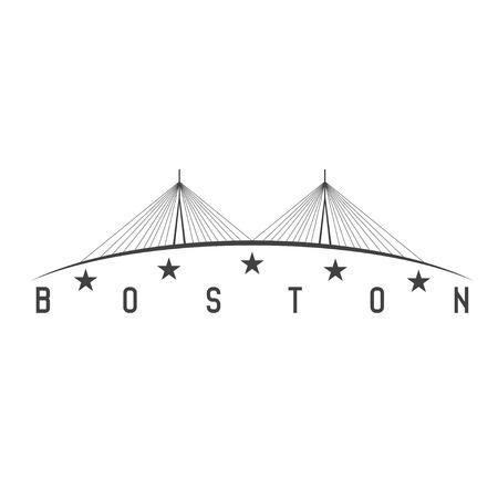 boston skyline: The Leonard P. Zakim Bunker Hill Memorial Bridge, Boston Massachusetts USA vector illustration Illustration