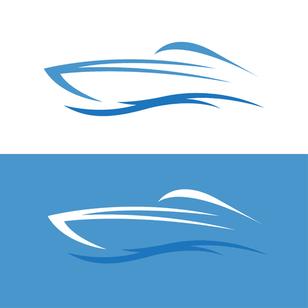 motor boat: abstract fast boat outline vector design template