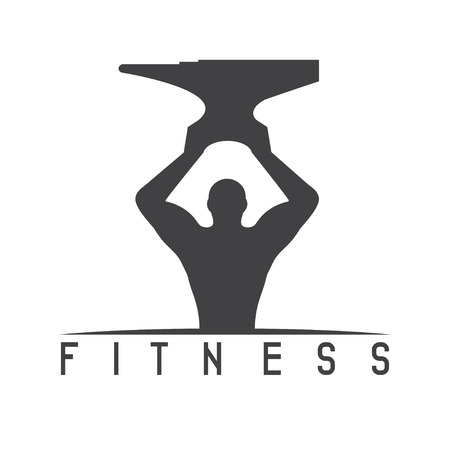 sexy muscular man: man of fitness silhouette character with anvil