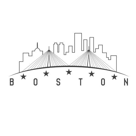 boston skyline: Boston Massachusetts USA skyline vector design illustration Illustration