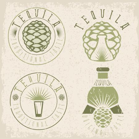 agave: tequila vintage grunge set labels with agave and bottles