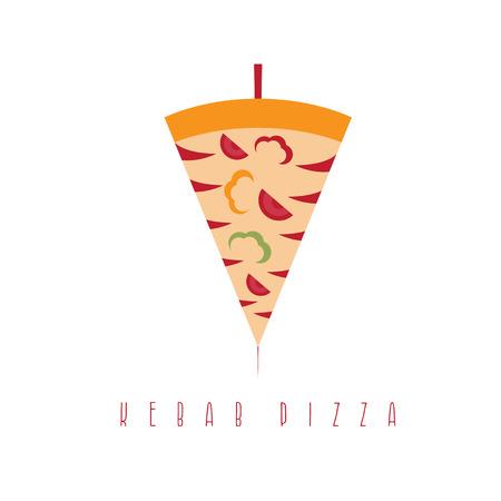 kabob: pizza and shawarma gyros doner kabob isolated vector design template