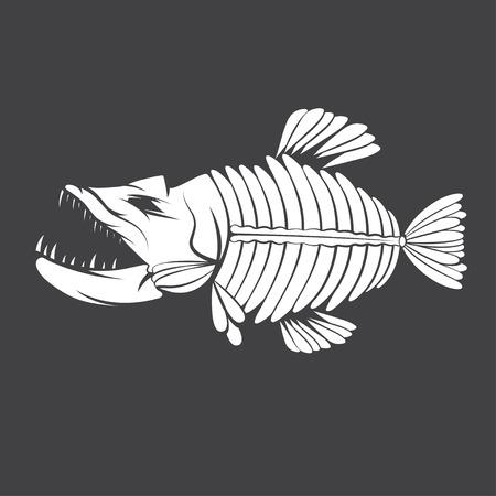 vector design template of aggressive tropical fish skeleton