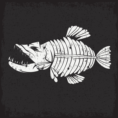 jumping carp: grunge vector design template of aggressive tropical fish skeleton Illustration