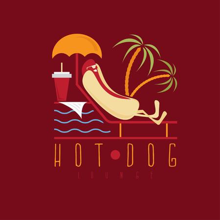 newspaper roll: hot dog lounge concept vector design template Illustration
